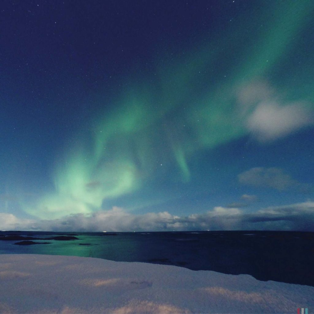 Winter Whale Watching in Norway: Northern Lights on the beach.