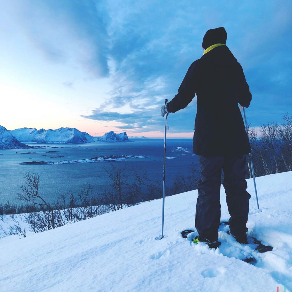 Winter Whale Watching in Norway: Theresa, enjoying the view over the Bergsfjord on Senja Island.