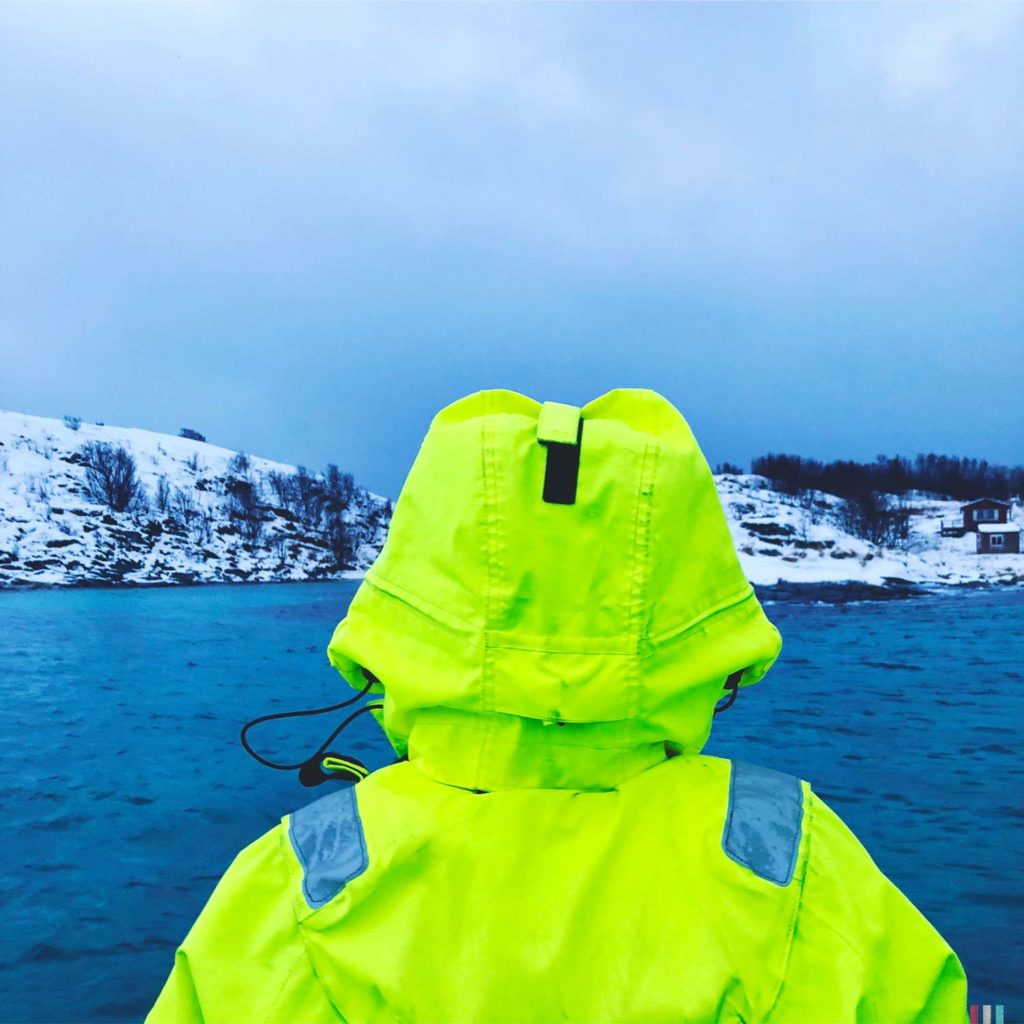 Winter Whale Watching in Norway: Theresa searching for orcas.